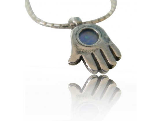 Hamsa Necklace Sterling Silver and Opal