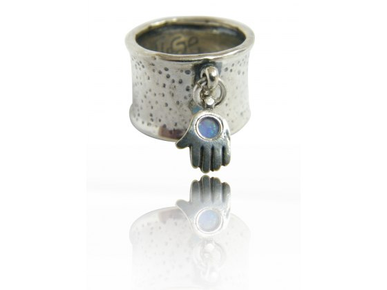 Hamsa Ring Sterling Silver and Opal
