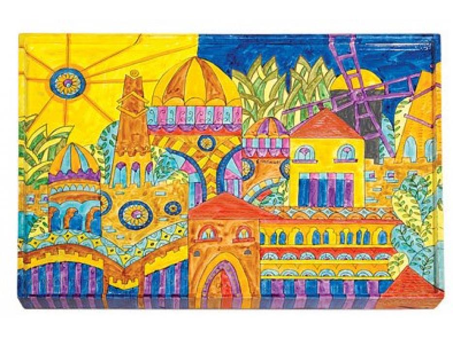 Hand Painted Challah Board Modern Jerusalem by Yair Emanuel