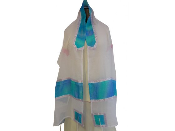Hand Painted Silk, Tallit Prayer Shawl for Woman
