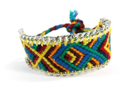 Handmade Colorful Bracelet Decorated with Beads and Cuban Link Chain