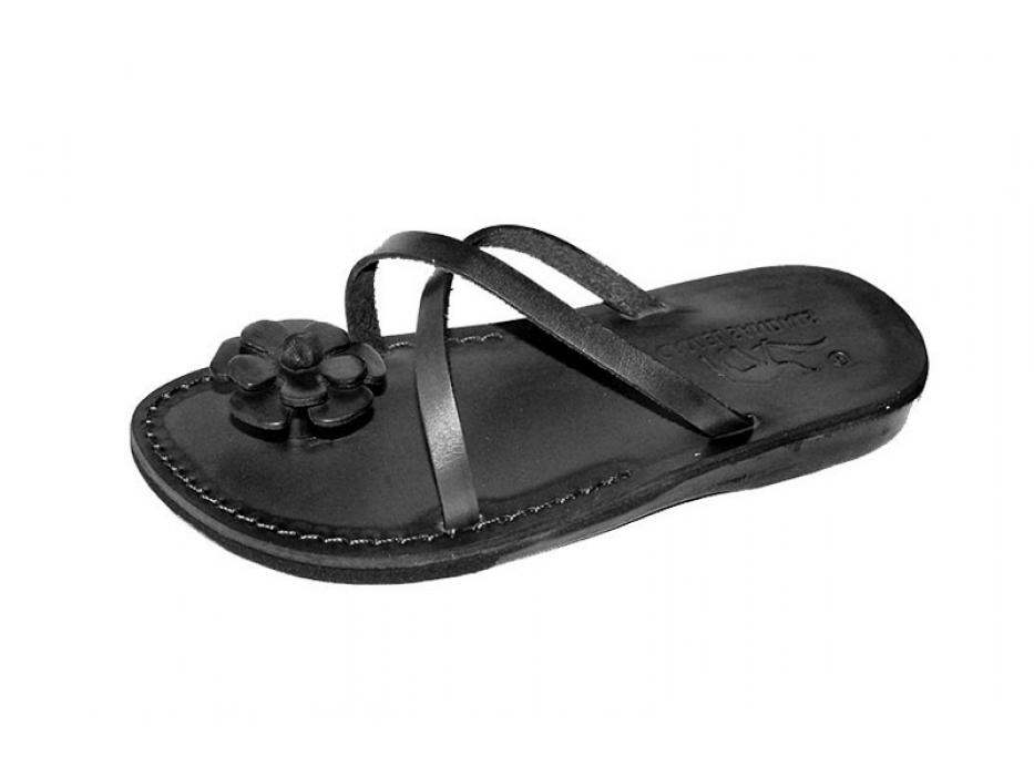 Handmade Leather Backless Sandals Flower Toe Holder -  Shoshana
