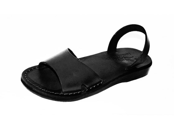 Black Handmade Leather Sandals Wide Strap Narrow Ancle Strap - Gideon
