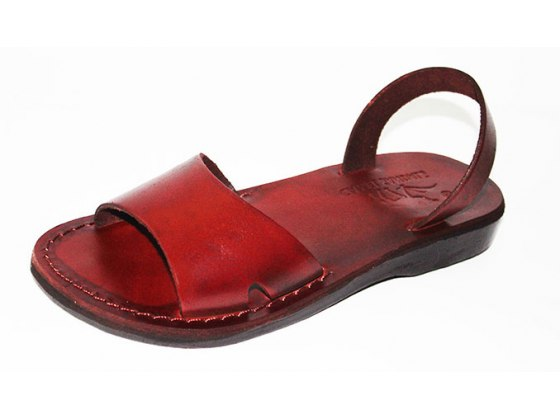 Brown Handmade Leather Sandals Wide Strap Narrow Ancle Strap - Gideon