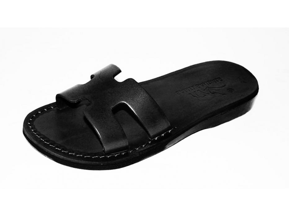 Handmade Leather Wide Strap Slip on Sandals - Avishai