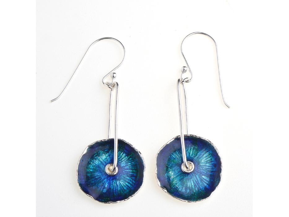 Buy Hanging Silver Enamel Earrings Shaped as Flowers, Idit Jewelry