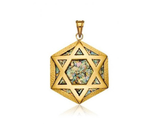 Hexagonal 14K Gold Star of David Necklace with Roman Glass