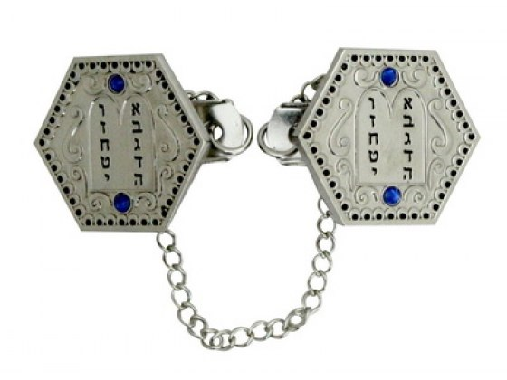 Hexagonal Two Tablets Tallit Clips with Blue Stones