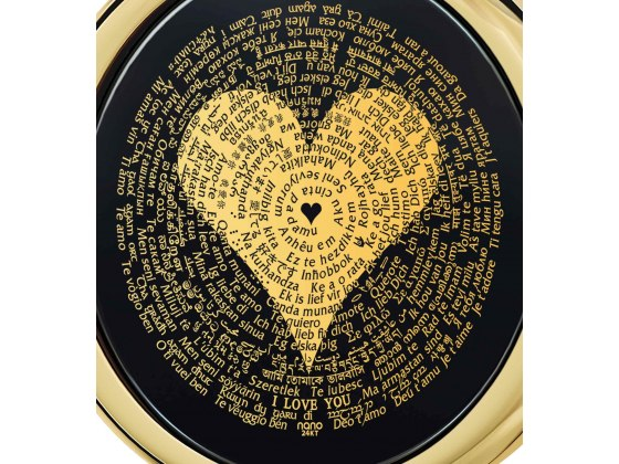 I Love You In 120 Languages on Onyx and 14K Yellow Gold Frame