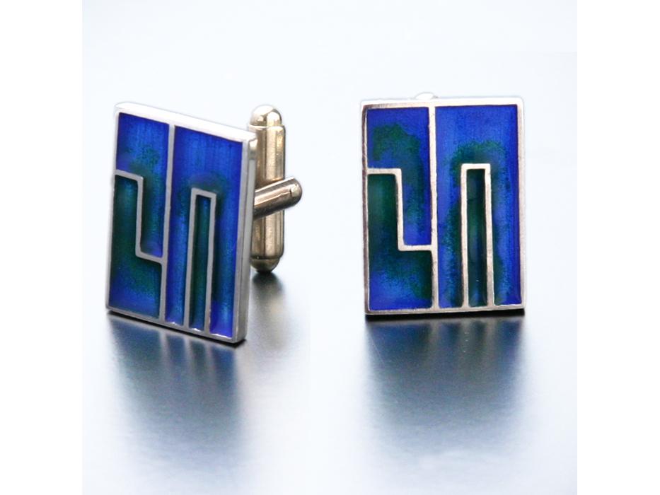 Idit - Enamel filled Sterling Silver Chai Cufflinks