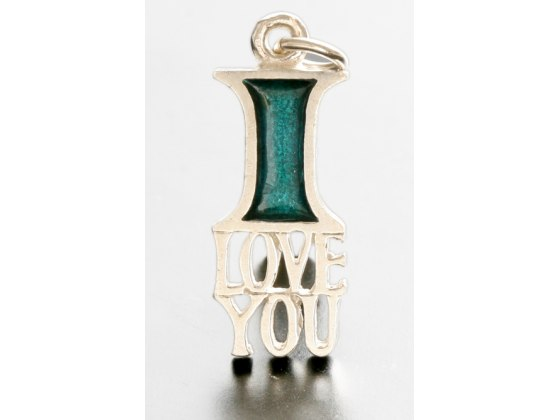 Idit - Enamel Filled Sterling Silver I Love You Pendant necklace