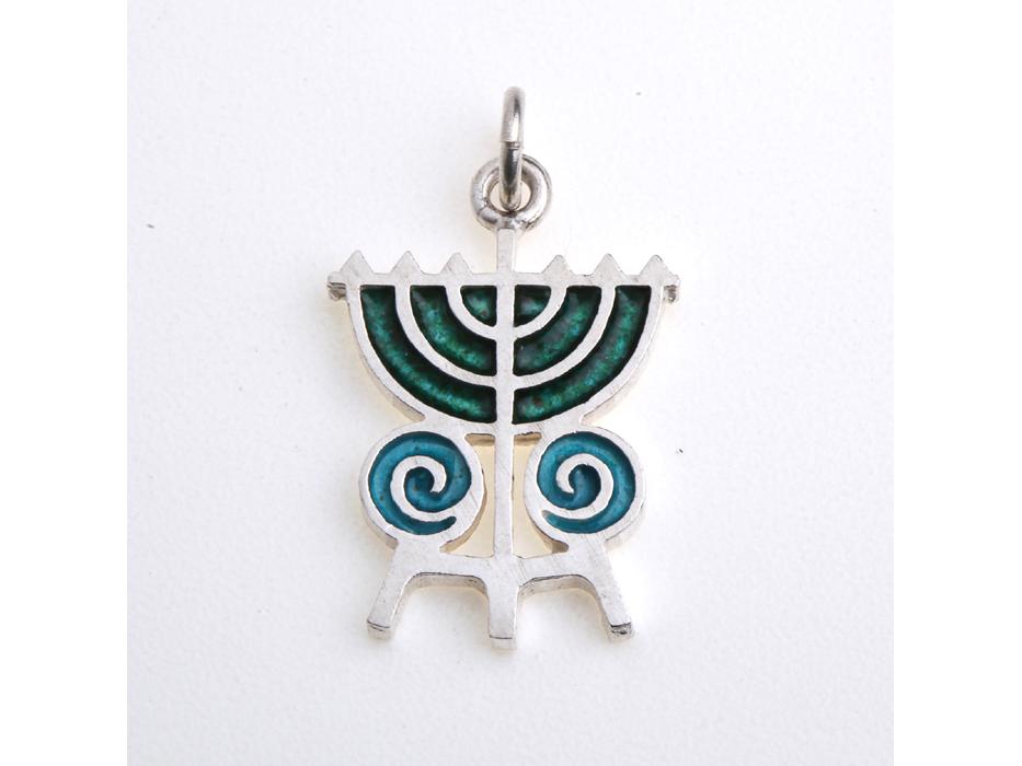 Idit - Enamel Filled Sterling Silver Menorah with Swirls Pendant