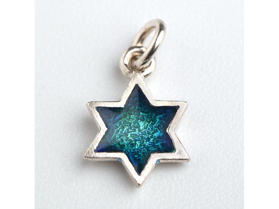 Idit - Enamel Filled Sterling Silver Star of David Pendant