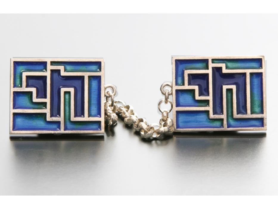 Idit - Enamel Mosaic on Sterling Silver Chai Tallis Clip