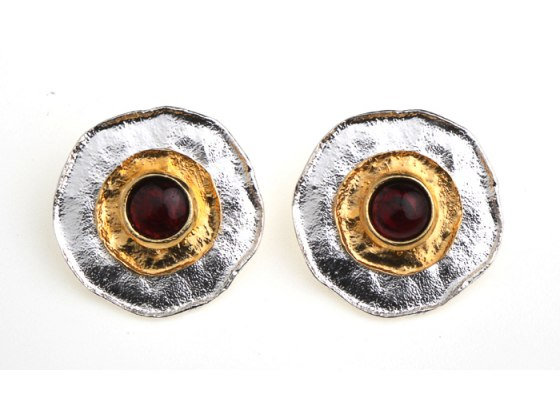 Idit Jewelry - Silver Earrings with Plated Gold Ring and Semi-Precious Stone
