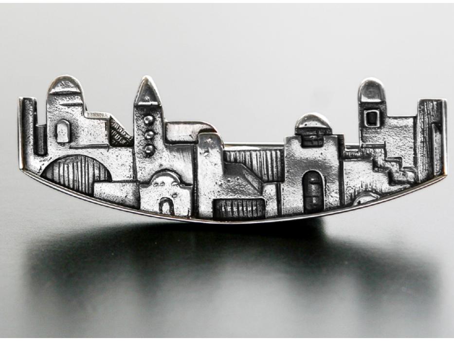 Idit - Oxidized Sterling Silver Curved Jerusalem Pin