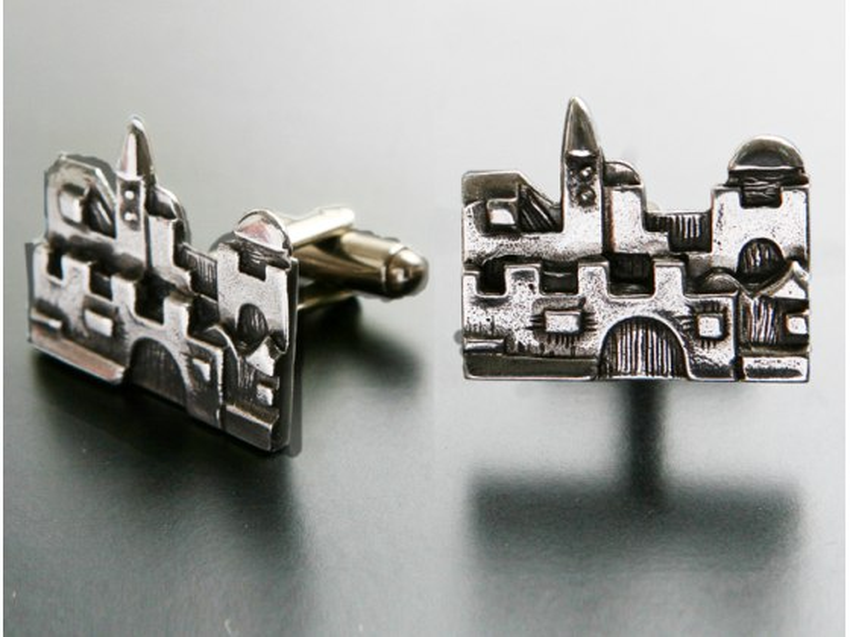 Idit - Oxidized Sterling Silver Jerusalem cufflinks