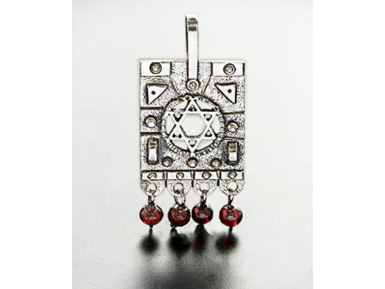 Idit - Oxidized Sterling Silver Star of David Carved Amulet 4 Hanging Garnets