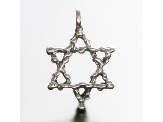 Idit - Oxidized Sterling Silver Star of David - Twisted Rope