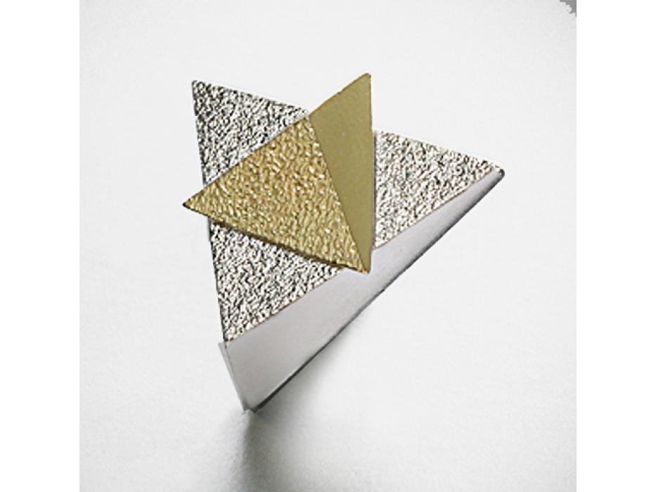Sterling Silver/18k Gold Sparkling Star of David, Hammered Silver Pyramids