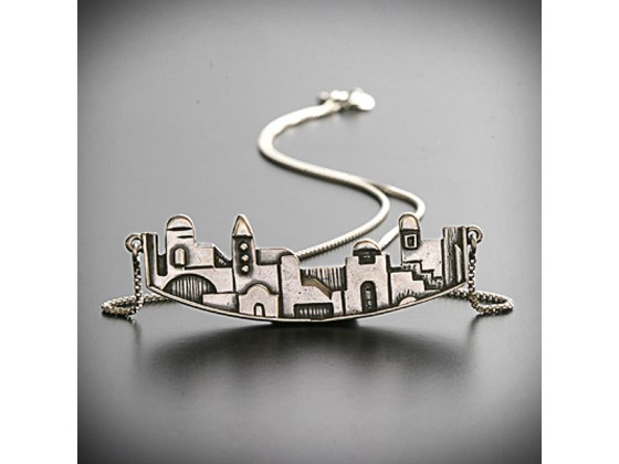 Idit - Sterling Silver Jerusalem Pendant with silver box chain - Wider