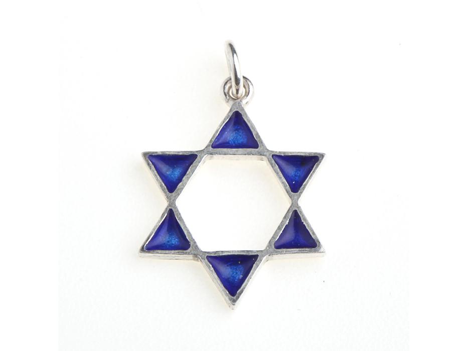 Idit - Sterling Silver Star of David Enameled Filled Points Pendant - Medium