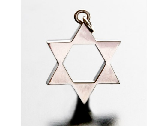 Idit - Sterling Silver Star of David Filled Points Pendant - XLarge