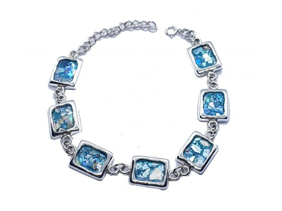Sterling Silver Bracelet with Square Roman Glass