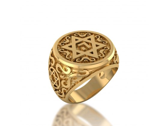 14K Rose Gold Star of David Ring with Name of God