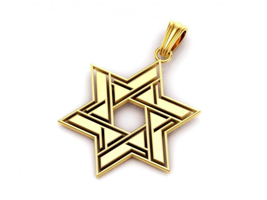 14K Gold Star of David Necklace Modern Interlock Design