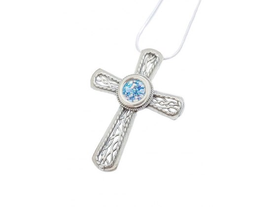 Silver Filigree Cross with Roman Glass