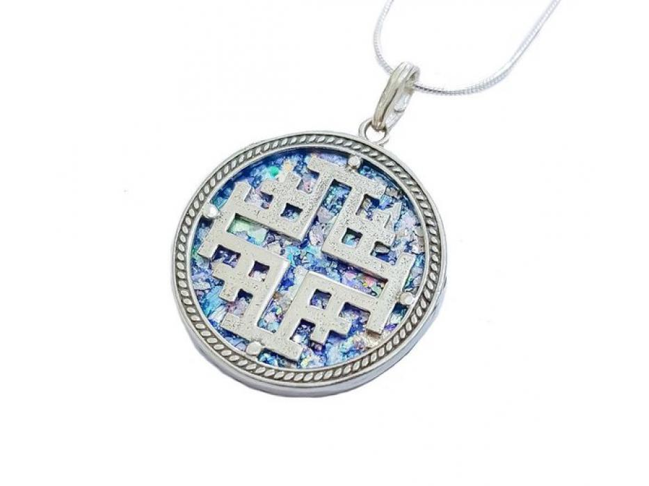 Round Roman Glass Necklace with Silver Jerusalem Cross