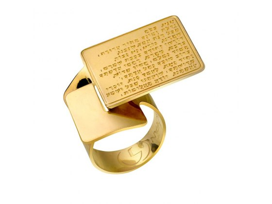 Ana BeKoach Gold Plated Jewish Blessing Ring