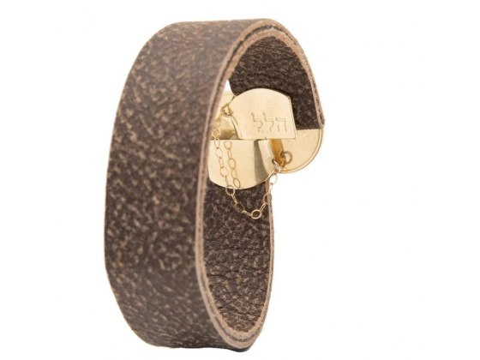 ALD Name Of God Leather and Gold Bracelet