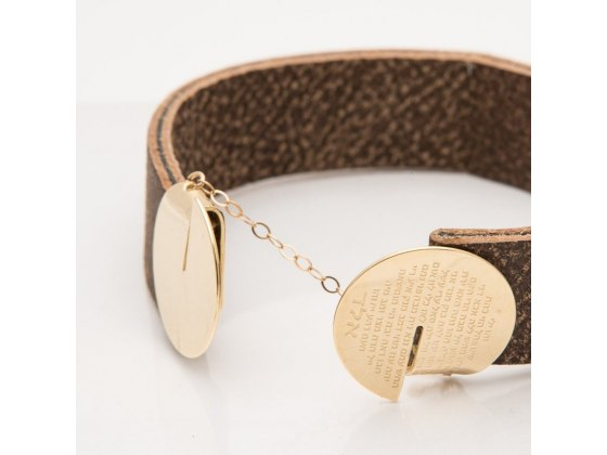 Priestly Blessing Leather and Gold Bracelet