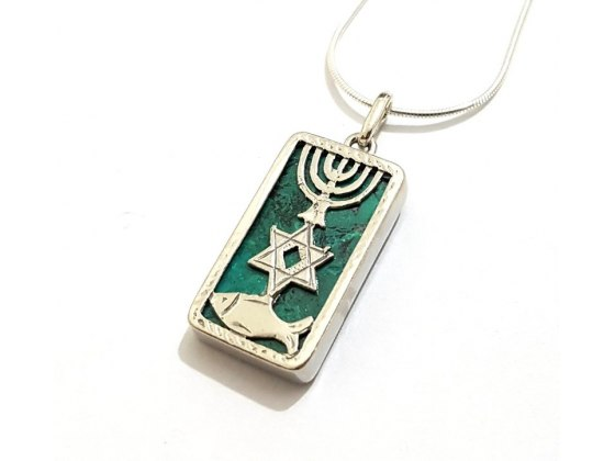 Silver Messianic Seal Necklace with Eilat Stone