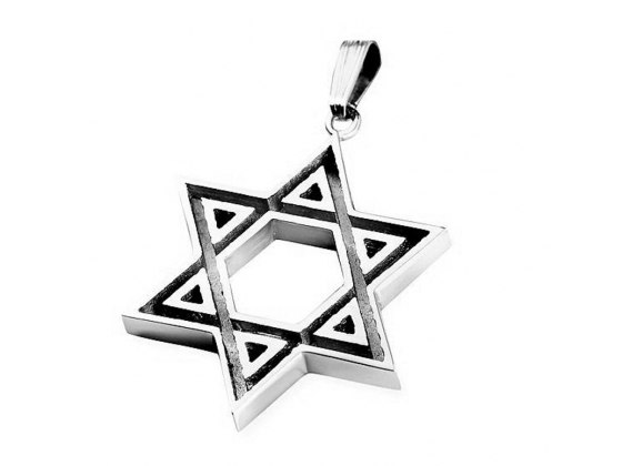Engraved 925 Sterling Silver Star of David Pendant