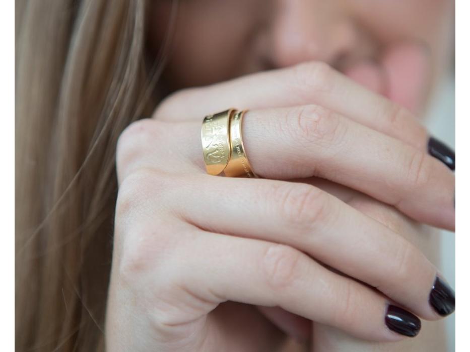 Ana Bekoach Gold Jewish Ring