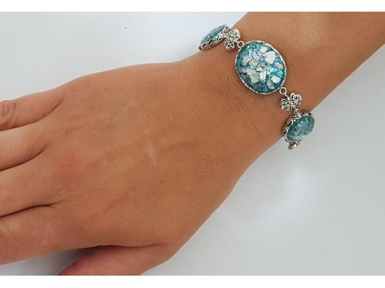 Sterling Silver Bracelet with Round Roman Glass