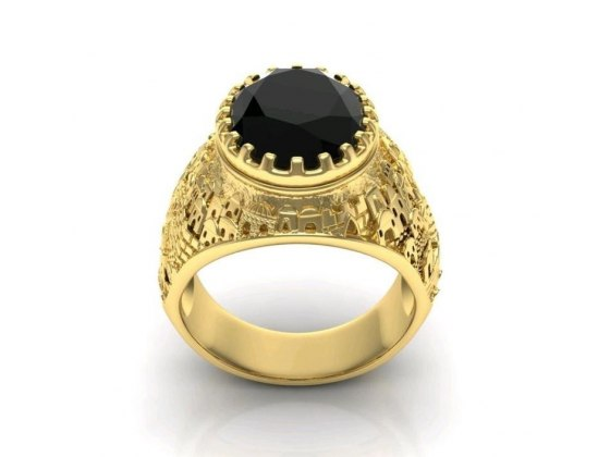 14K Gold Jerusalem Ring with Black Onyx