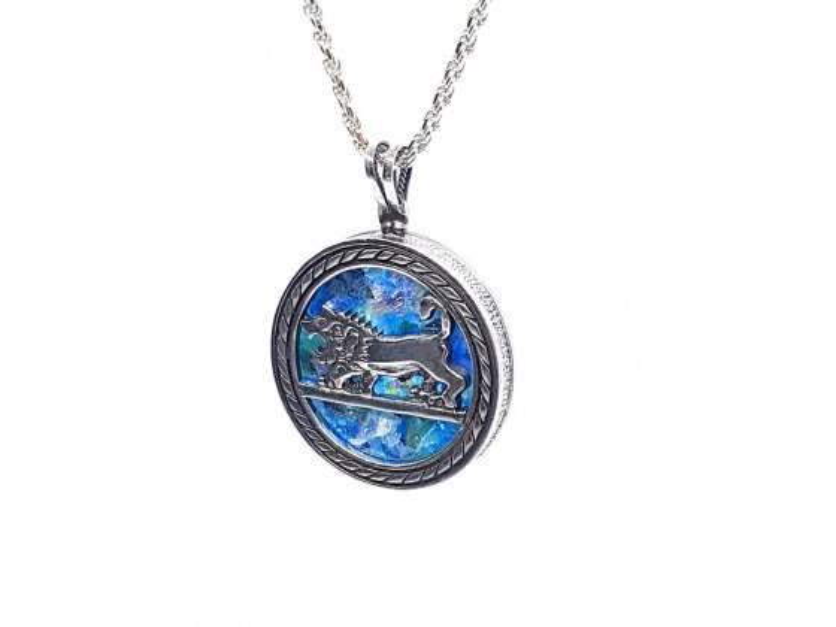 Yoel Jewelry Silver Roman Glass Lion Of Judah Circle Pendant