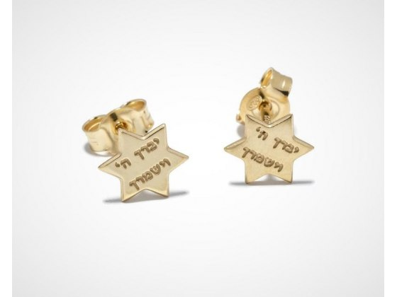 Gold Plated Star Of David Priestly Blessing Stud Jewish Earrings