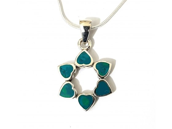 Eilat Stone and Silver Hearts Star of David Necklace