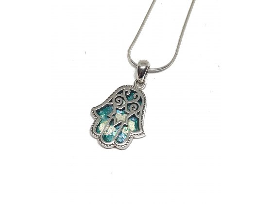 Silver Hamsa and Star of David Necklace with Roman Glass