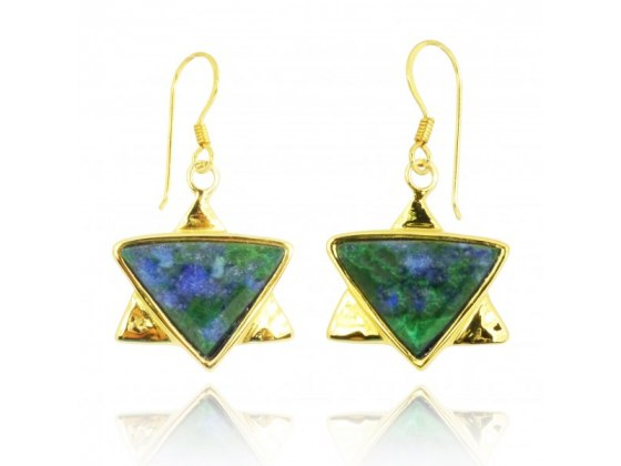 Gold Plated Star of David Earrings with Azurite Malachite