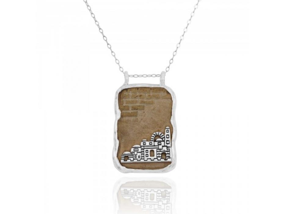 Sterling Silver and Stone Jerusalem Skyline Necklace
