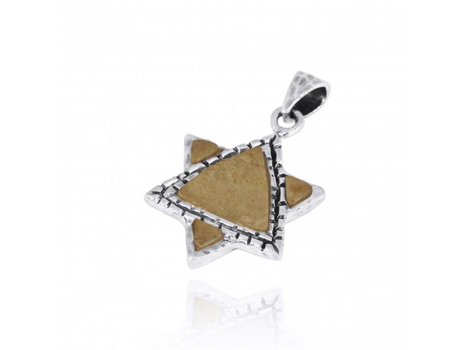 Jerusalem Stone and Silver Star of David Necklace