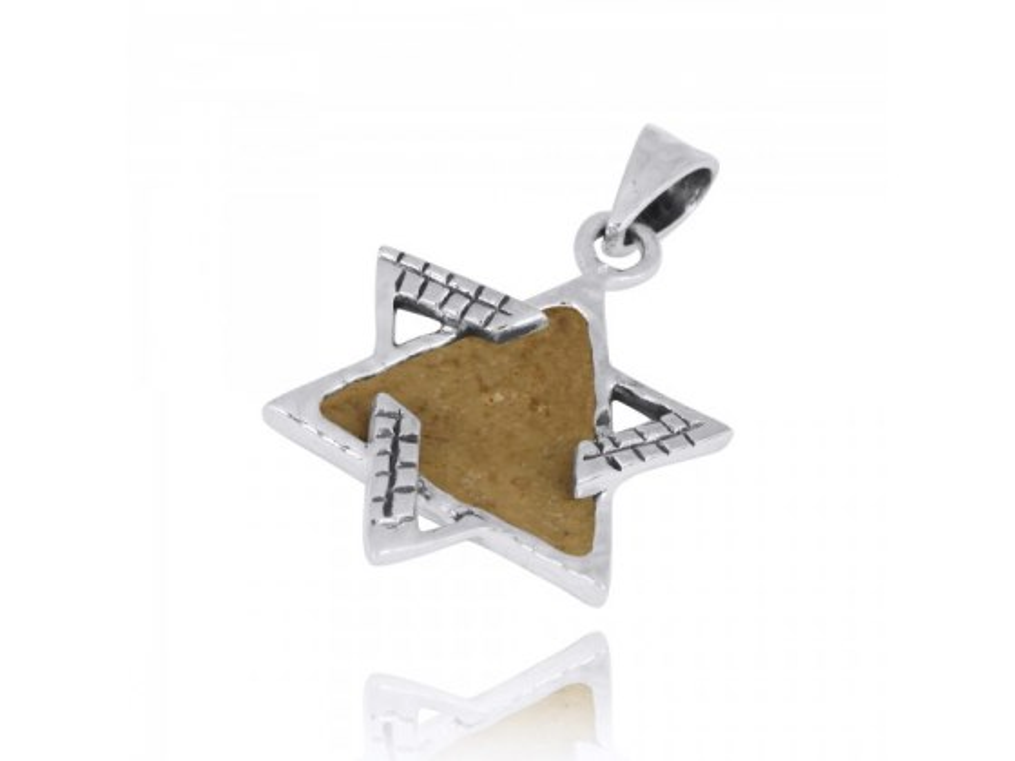 Jerusalem Stone and Silver Interlock Star of David Necklace