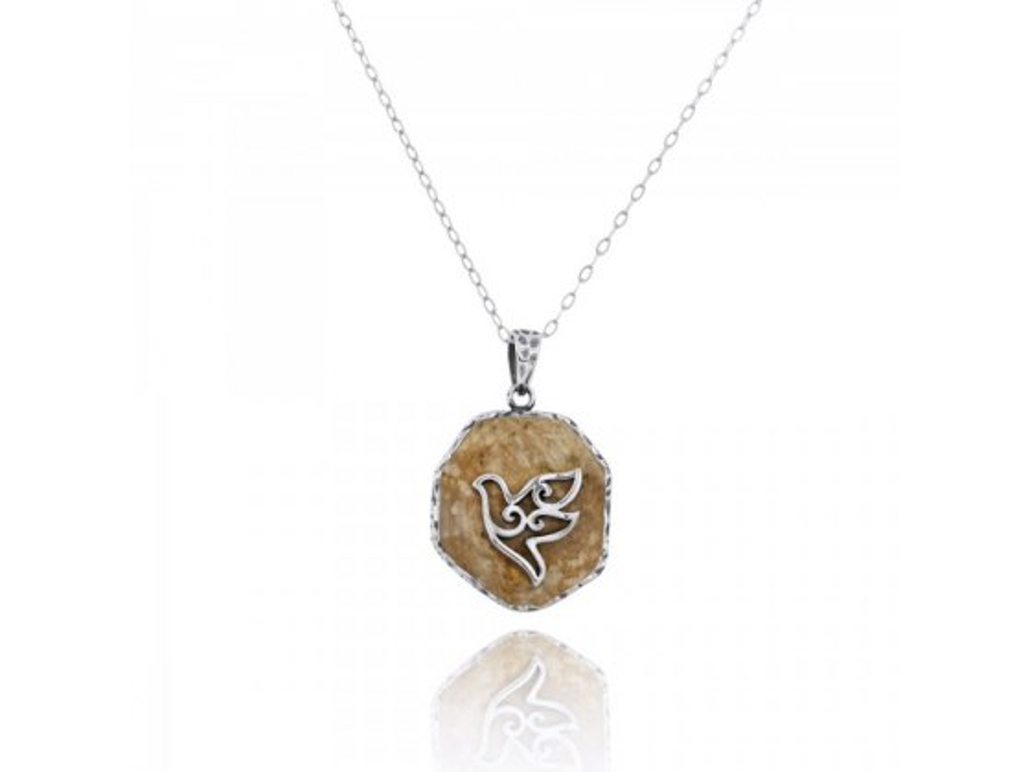 Sterling Silver Dove Necklace with Round Jerusalem Stone