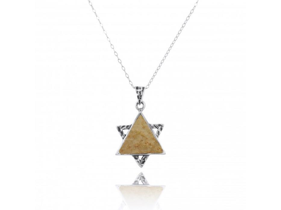 Star of David Necklace Jerusalem Stone and Sterling Silver